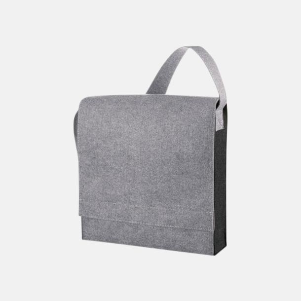 Light Grey Melange Axelväskor i filt med reklamtryck