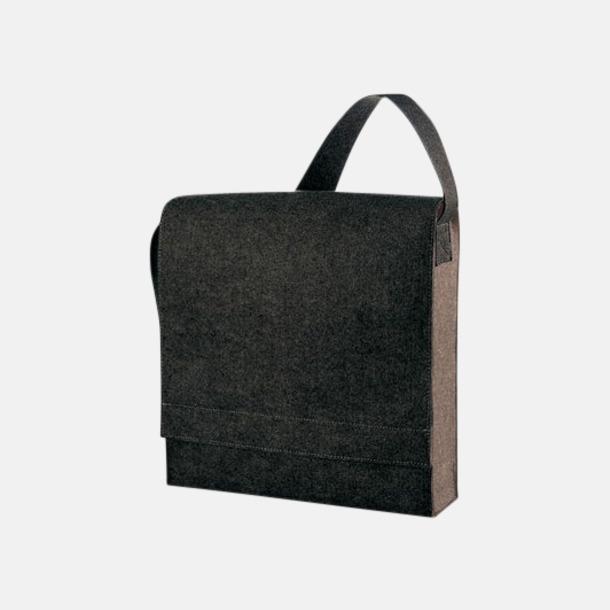 Black-Sprinkle Axelväskor i filt med reklamtryck