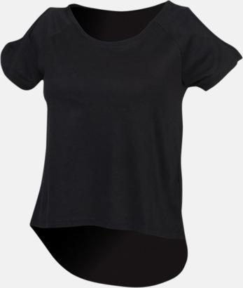 Svart Dam t-shirts med cold shoulder - med reklamtryck