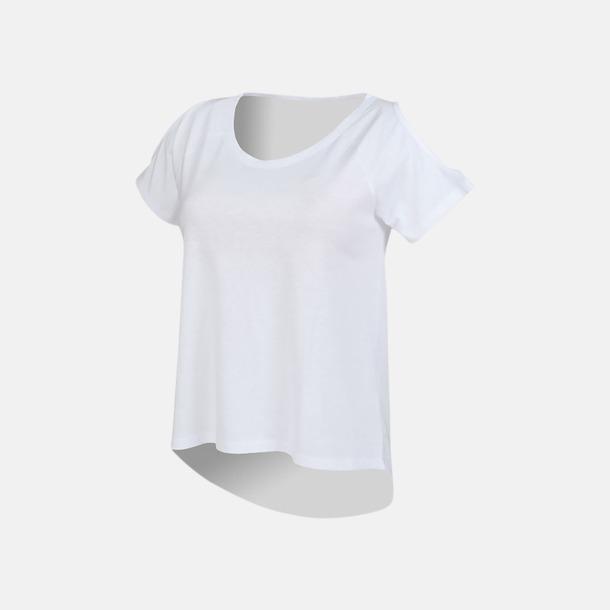 Vit Dam t-shirts med cold shoulder - med reklamtryck