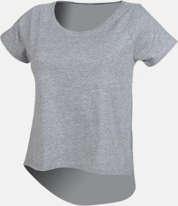 Heather Grey Dam t-shirts med cold shoulder - med reklamtryck