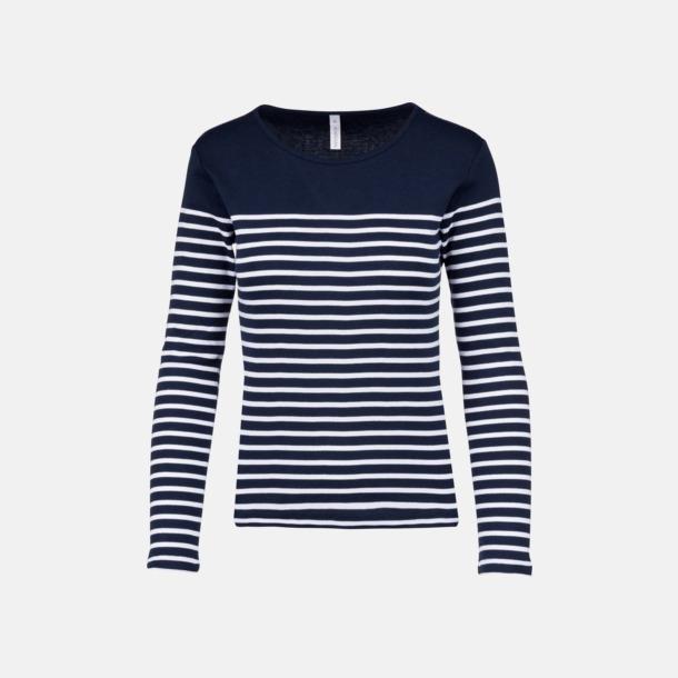 Marinblå/Vit (dam) Randiga, långärmade t-shirts med reklamtryck