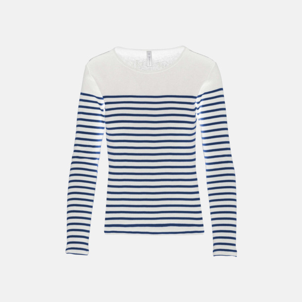 Vit/Marinblå (dam) Randiga, långärmade t-shirts med reklamtryck