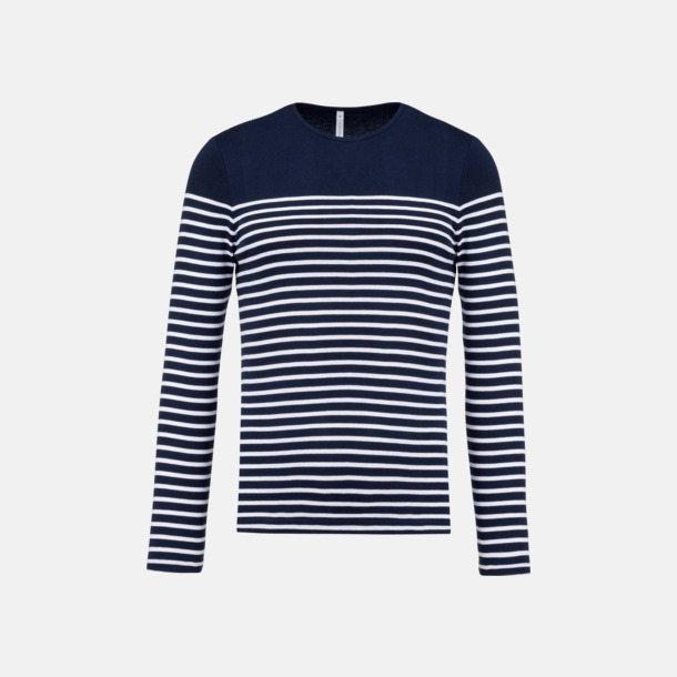Marinblå/Vit (herr) Randiga, långärmade t-shirts med reklamtryck