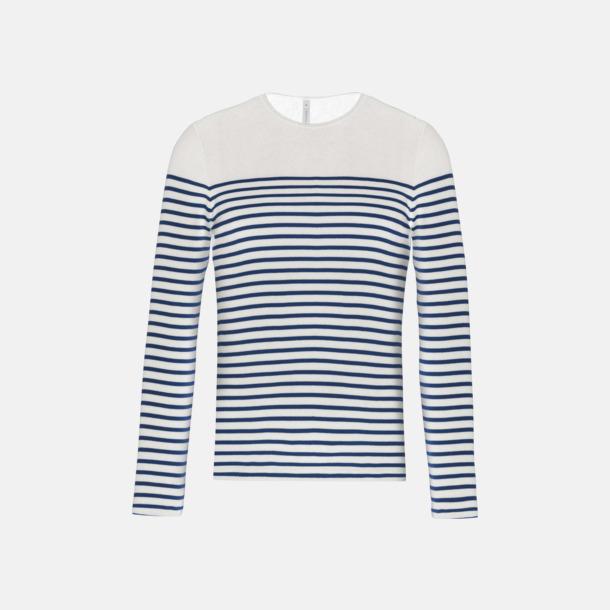 Vit/Marinblå (herr) Randiga, långärmade t-shirts med reklamtryck