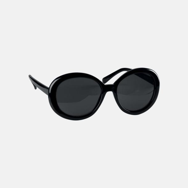Svart Runda solglasögon med reklamtryck