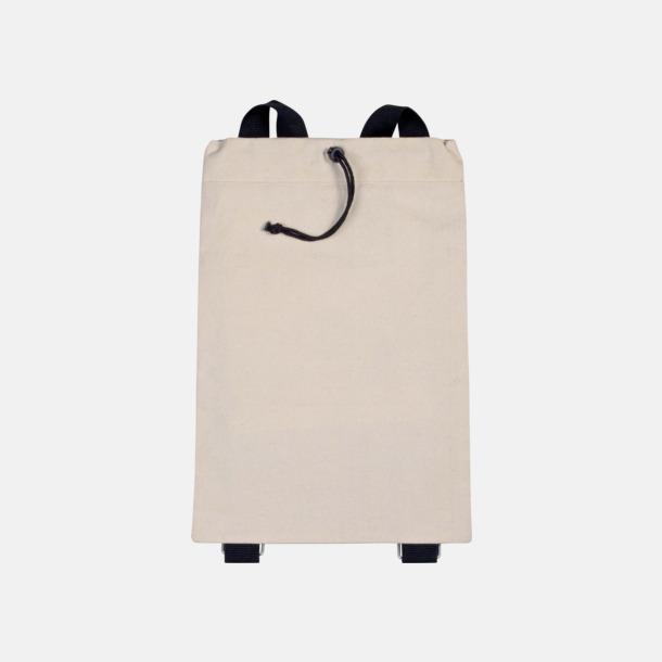 Natur / Svart Bomullsryggsäckar med dragsko med reklamtryck