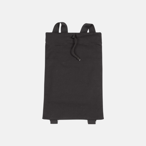 Svart Bomullsryggsäckar med dragsko med reklamtryck