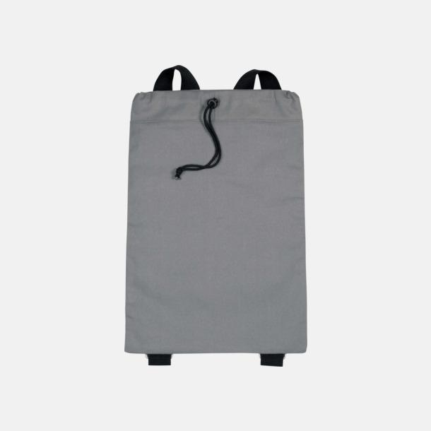 Grå / Svart Bomullsryggsäckar med dragsko med reklamtryck