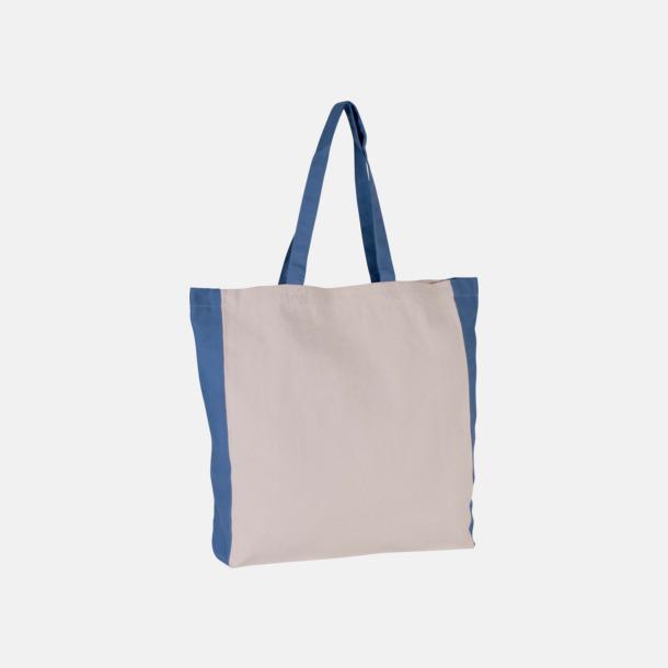 Natur/Dusty Blue Tygkassar i natur med kontrastfärg - med reklamtryck