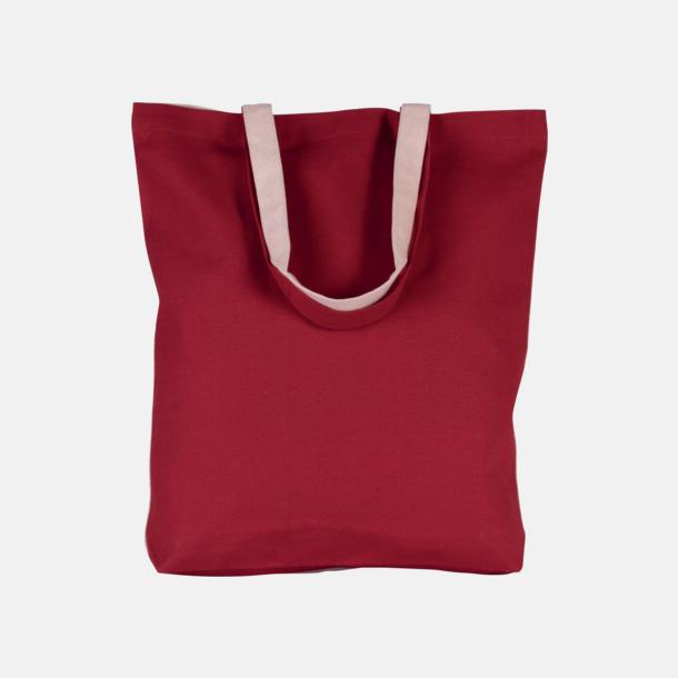 Röd / Natur Tvåfärgade tygpåsar med reklamtryck