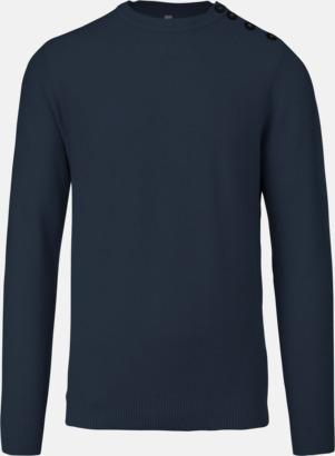 Marinblå Tröjor med knäppning på sidan - med reklamtryck