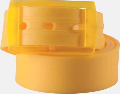 Gul Bälten i silikon med gravyrlogo