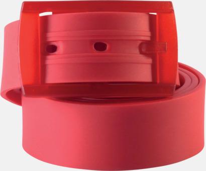 Röd Bälten i silikon med gravyrlogo