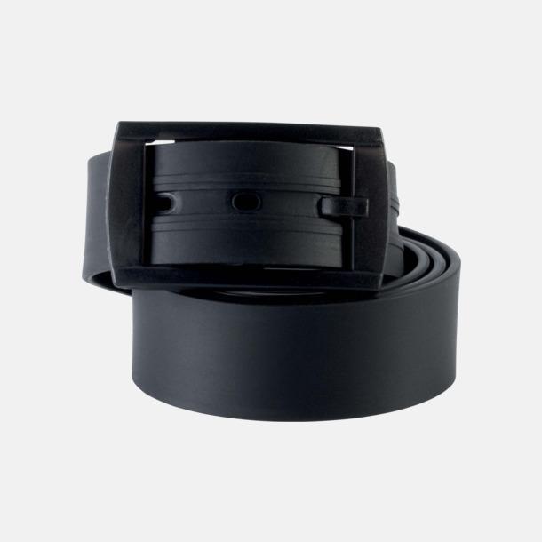 Svart Bälten i silikon med gravyrlogo