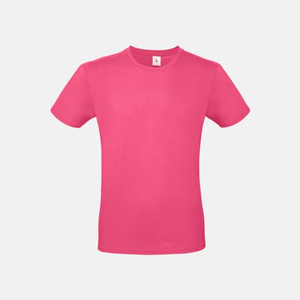 Fuchsia (herr) Fina kvalitets bas t-shirts med reklamtryck
