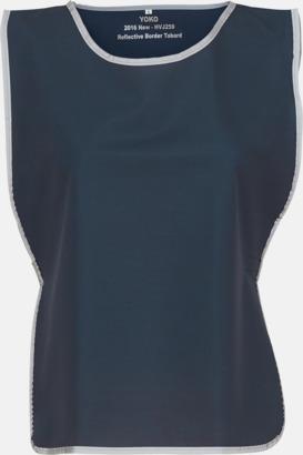 Marinblå Västar med reflexrand med reklamtryck