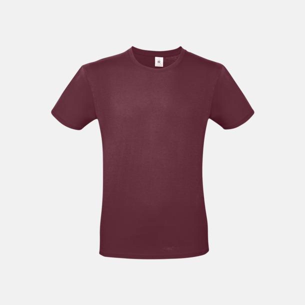Burgundy (herr) Fina kvalitets bas t-shirts med reklamtryck
