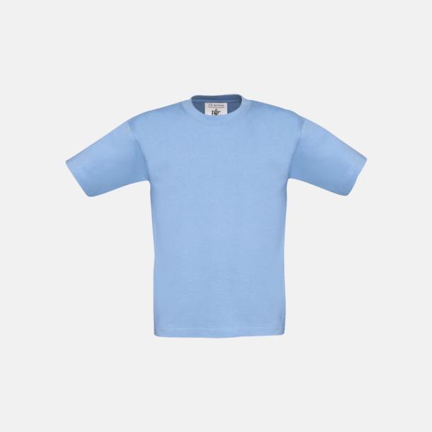 Sky Blue (barn) Fina kvalitets bas t-shirts med reklamtryck