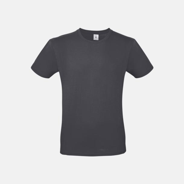 Mörkgrå solid (herr) Fina kvalitets bas t-shirts med reklamtryck