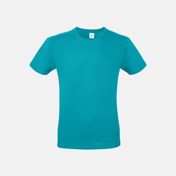 Real Turquoise (herr) Fina kvalitets bas t-shirts med reklamtryck