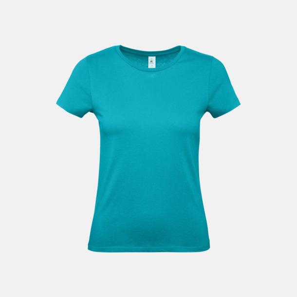 Real Turquoise (dam) Fina kvalitets bas t-shirts med reklamtryck