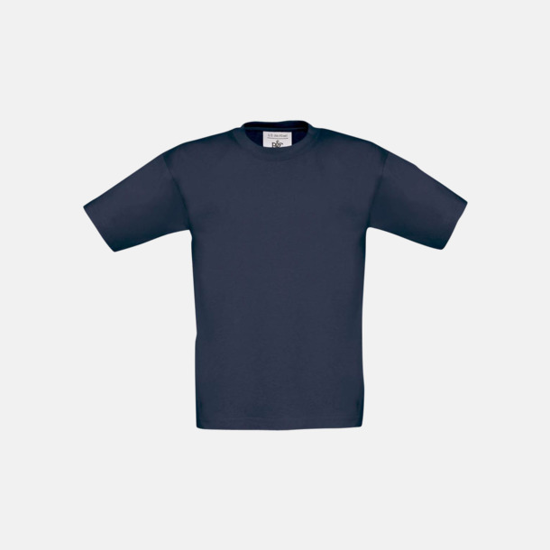 Marinblå (barn) Fina kvalitets bas t-shirts med reklamtryck
