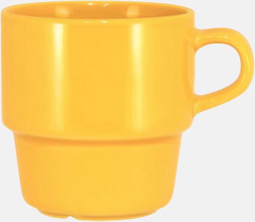 Gul 25 cl stapelbara kaffemuggar med reklamtryck