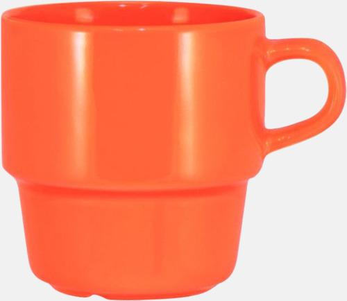 Orange 25 cl stapelbara kaffemuggar med reklamtryck