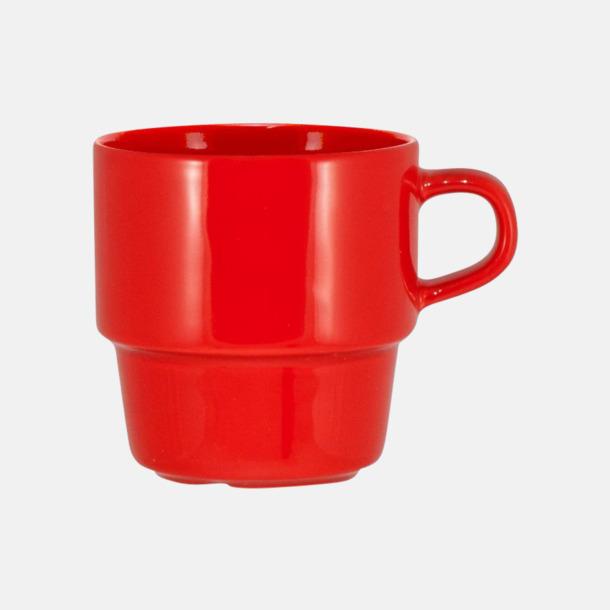 Röd 25 cl stapelbara kaffemuggar med reklamtryck