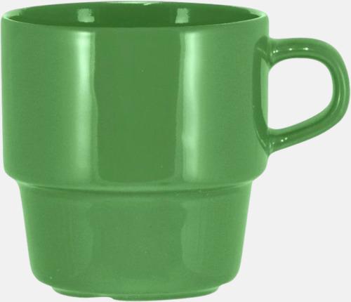 Grön 25 cl stapelbara kaffemuggar med reklamtryck