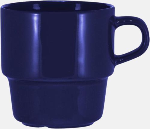 Marinblå 25 cl stapelbara kaffemuggar med reklamtryck