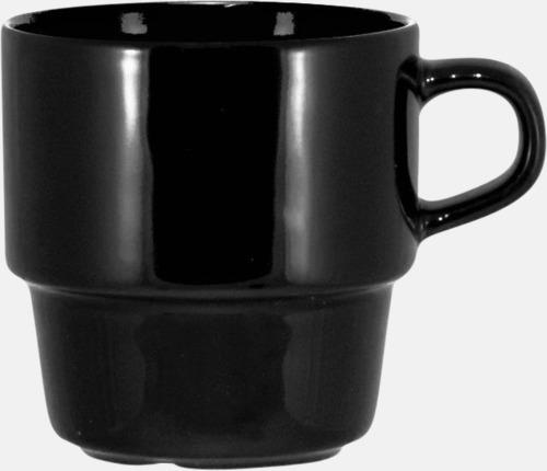 Svart 25 cl stapelbara kaffemuggar med reklamtryck