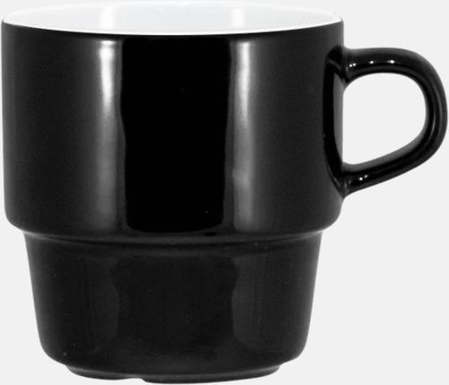 Svart / Vit 25 cl stapelbara kaffemuggar med reklamtryck