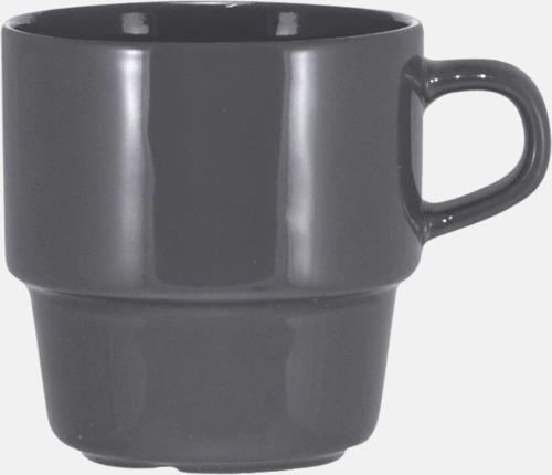 Grå 25 cl stapelbara kaffemuggar med reklamtryck