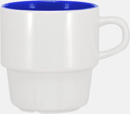 Vit/Royal 25 cl stapelbara kaffemuggar med reklamtryck