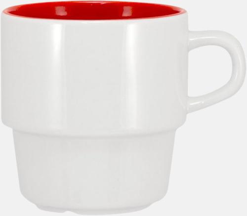 Vit / Röd 25 cl stapelbara kaffemuggar med reklamtryck