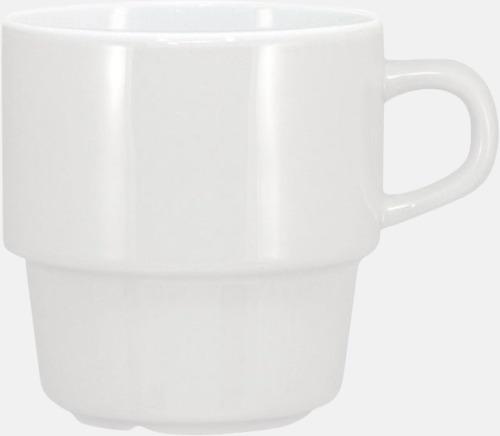 Vit 25 cl stapelbara kaffemuggar med reklamtryck