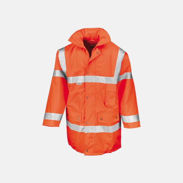 Fluorescerande Orange Säkerhetsjackor i återvunnet material med reklamtryck