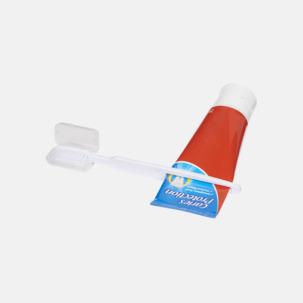 Tandborste med fodral och inbygd tubklämma - med reklamtryck