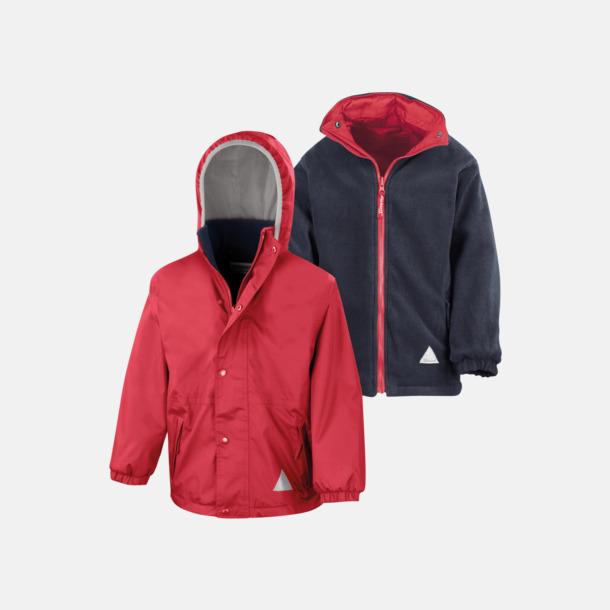 Röd/Marinblå (barn) Vändbara jackor för vuxna & barn - med reklamtryck