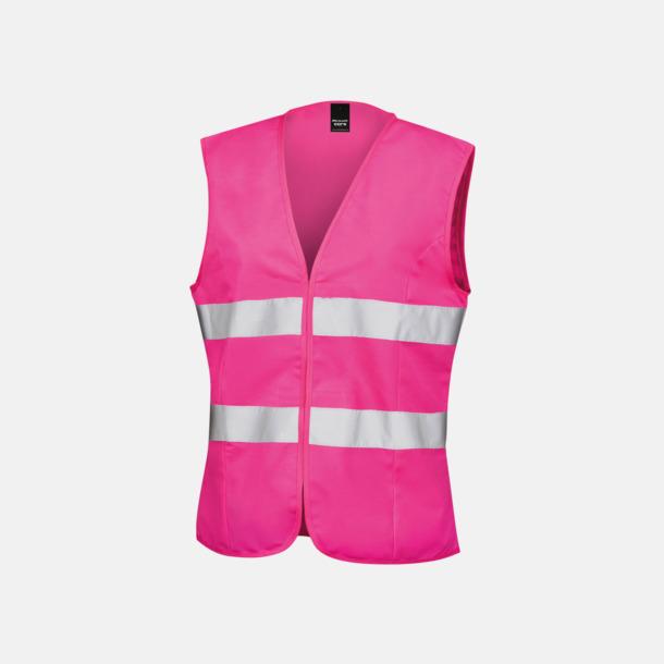 Fluorescerande Rosa Reflexvästar med feminin passform - med reklamtryck