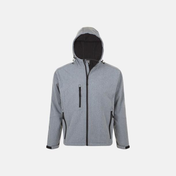 Grey Melange (herr) Softshell jackor i herr-, dam- & barnmodell med reklamtryck