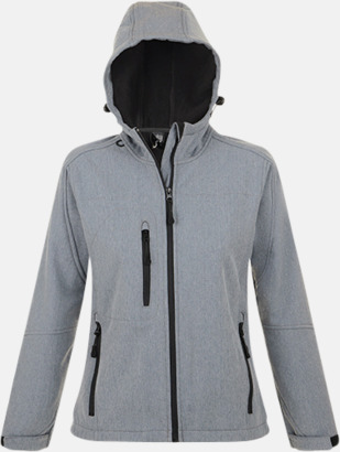 Grey Melange (dam) Softshell jackor i herr-, dam- & barnmodell med reklamtryck