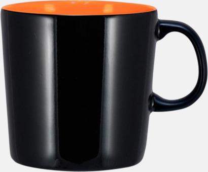 Svart (blank)/Orange Enea-muggen i större format med reklamtryck