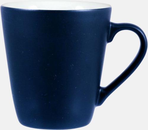 Marinblå / Vit Kaffemuggar i stengodsmuggar med reklamtryck