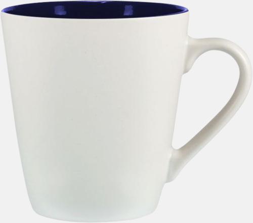 Vit / Marinblå Kaffemuggar i stengodsmuggar med reklamtryck