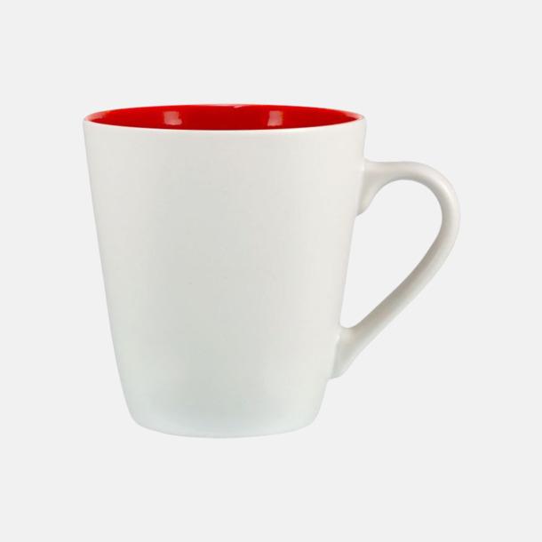Vit / Röd Kaffemuggar i stengodsmuggar med reklamtryck