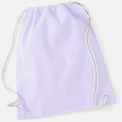 Lavender/Vit Gympapåsar i bomull med reklamtryck