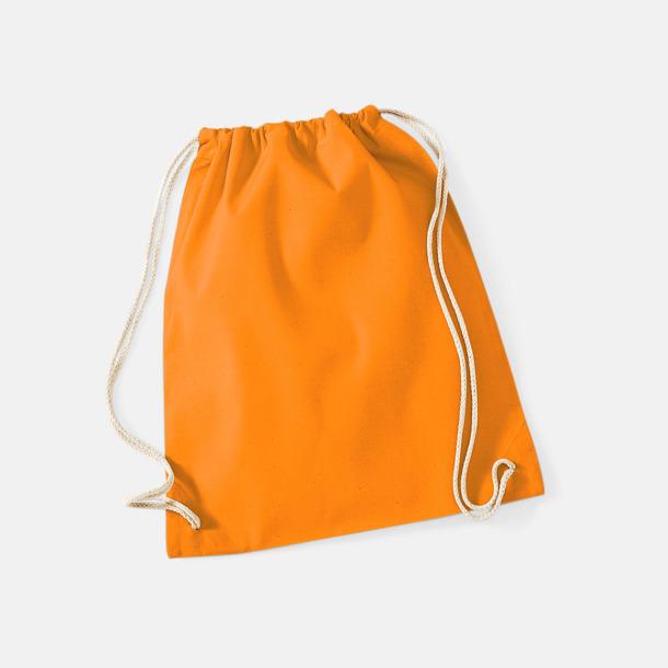 Orange Gympapåsar i bomull med reklamtryck